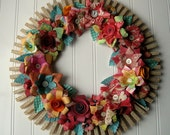 Clothespin  Floral Wreath  handmade paper flowers Jane Austen text Maps and more