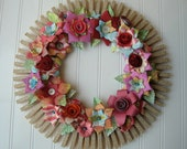 Clothespin  Floral Wreath  handmade paper flowers Jane Austen text Maps and more N5