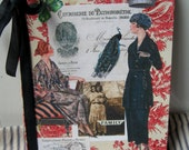 Altered Journal notebook Vintage Red Toile wallpaper Chic ladies French images One of a Kind