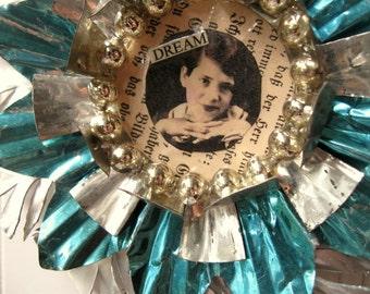 Tart Tin ornament upcycled vintage handmade altered art Folk art Aqua Dream Girl Star Snowflake Flower