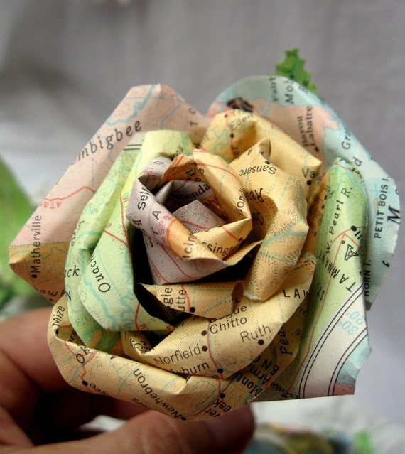 RESERVED FOR SFISCHER3Handmade Boutonniere Vintage Map Paper Rose Wedding