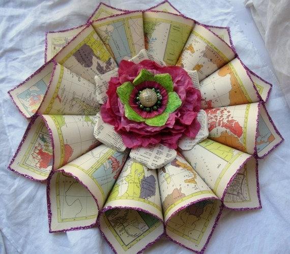 Handmade Vintage map paper wreath Pinwheel Wall Flower Rosette Magenta and Lime