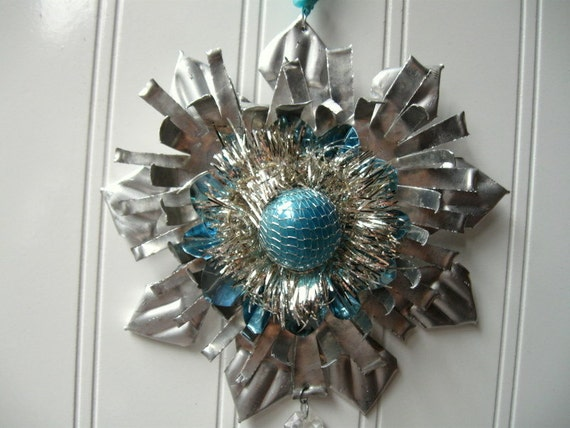 Tart Tin ornament upcycled vintage handmade altered art Folk art  Aqua Tinsel Heart Star Snowflake Flower