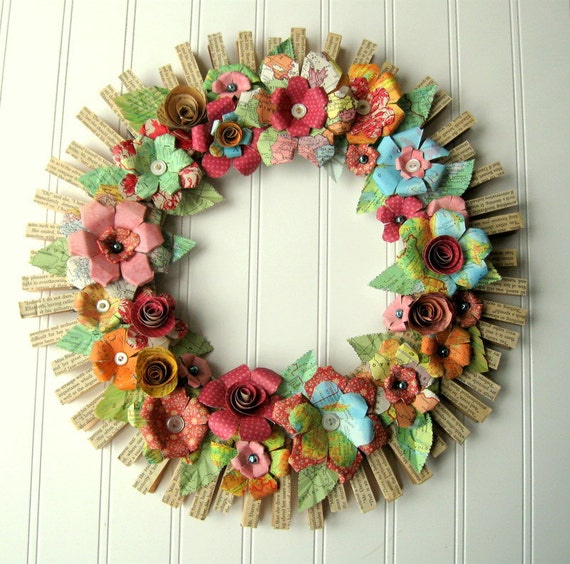 Clothespin  Floral Wreath  handmade paper flowers Jane Austen text Maps and more OOAK