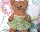 Vintage Cat Rag Doll... Handmade Kitty in Sundress