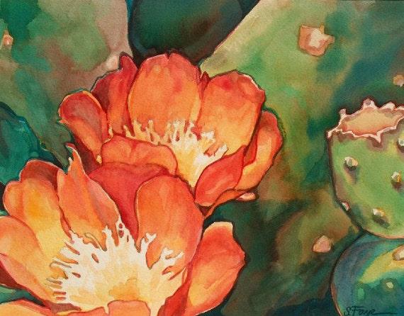 Orange Cactus Floral Art Print Southwest Desert Limited