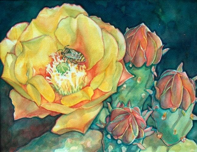 Cactus Flower Art Cactus art print/ yellow