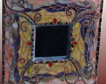 Mosaic Wall Mirror Swirly Stained Glass with Butterfly