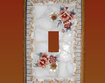 Mosaic Switch Plate Red Flowers and Crystal Accents