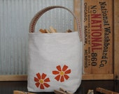 RESERVED FOR KRISTINE Fabric Organizer Orange Flower Bag, Bin