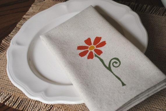 CLEARANCE 25% OFF Dinner Napkins Natural Cotton Orange Flower Set of 4