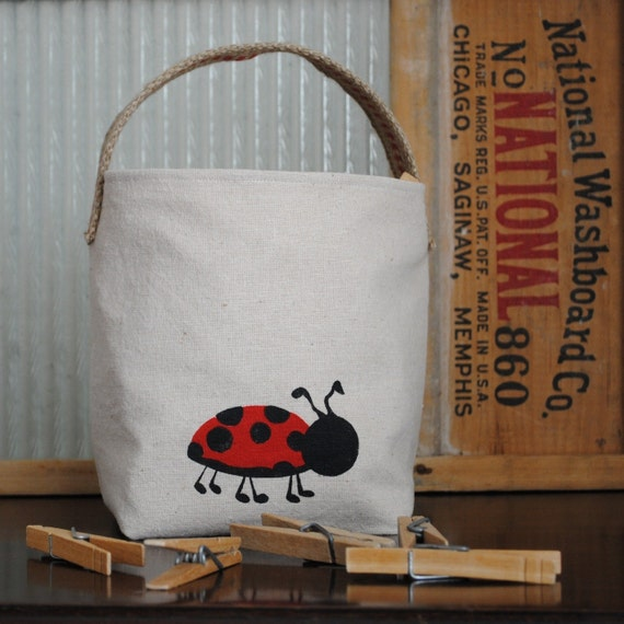 CLEARANCE Fabric Organizer Ladybug Bag, Bin