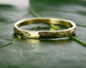 Single Hand Forged 14K Yellow Gold Ring, Hammered Texture 2mm size 3 through 6, any size available, Sea Babe Jewelry