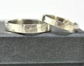 14k Palladium White Gold Perfect Wedding Ring Set, 3mm and 4mm, customizable, Matte, Sea Babe Jewelry