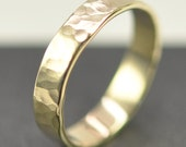 Solid 14K Yellow Gold 4mm Band or Wedding Ring, Hammered Texture, Matte Finish, size 6 to 8 this listing