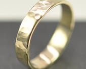 Solid 14K Yellow Gold 4mm Band or Wedding Ring, Hammered Texture, Matte Finish, size 8.25 to 10 this listing