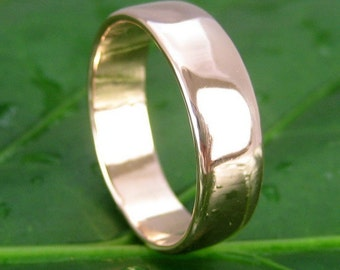 14K Rose Gold Mens Wedding Band, 5mm Wide Ring, Smooth, size 8.25 through 10, any size available