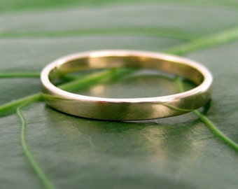 Yellow Gold Wedding Band, 2mm, 14K, Smooth Polished Eco Friendly, Sea Babe Jewelry