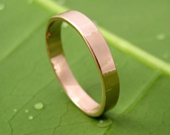Rose Gold Wedding Ring, Unisex Band in solid 14K Recycled Gold