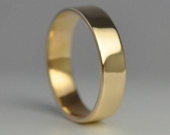 Mens Wedding Ring, 14K Yellow Gold Hand Forged 5mm Band, Sea Babe Jewelry