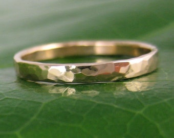 14K Rose Gold Hammered Ring 2mm size 6.25 through 9, any size available, Sea Babe Jewelry