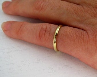 Wedding Ring, 18K Yellow Gold Classic Style Half Round Ring, 2mm Dome Band, Sea Babe Jewelry