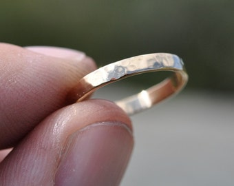 Yellow Gold Ring, 18K Yellow Gold Hand Forged 3mm Band, Hammered Texture, any size available, Sea Babe Jewelry