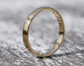 18K Yellow Gold Hand Forged 3mm Smooth Wedding Band or Ring, any size available, Sea Babe Jewelry, any size available