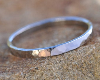 White Gold Ring, 14K Palladium White Gold, Hammered 2mm wide ring, Sea Babe Jewelry