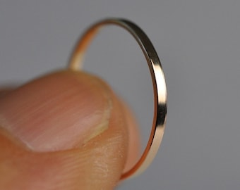 Skinny Rose Gold Ring, 14K Solid Gold 1mm Wedding Band or Fashion Ring, Smooth Texture, Sea Babe Jewelry