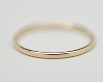 Skinny 14K Yellow Gold Ring or 1mm Wedding Band, Dainty Simple Gold Stacking Ring, Sea Babe Jewelry