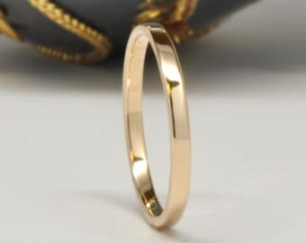 14K Yellow Gold Wedding Band Simple Gold Ring, 2mm Stacking, Sea Babe Jewelry