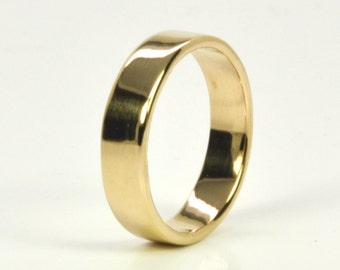 Mens Yellow Gold Wedding Band, 14K Gold, 5mm Wide Ring, Handmade, Custom, Sea Babe Jewelry