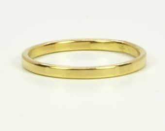 Gold Wedding Band, Matte Finish 18K Yellow Gold 2mm ring, Solid Gold, Smooth Texture, Handmade in your size