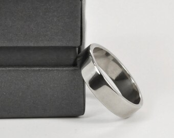 Mens 14K White Gold Hand Forged 5mm Wedding Ring or Band, Sea Babe Jewelry