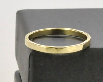 Yellow Gold 2mm Ring Faceted Texture, 18K, Wedding Band or Fashion Ring, Sea Babe Jewelry