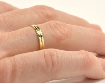 Set of Two 14K Yellow Gold 1mm Rings for Stacking