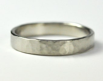 14K Palladium White Gold 4mm Wedding Band, Hand Forged, Hammered Matte, Sea Babe Jewelry