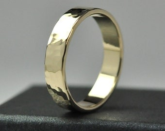 Mens Yellow Gold Wedding Band, 14K 5mm Hammered Gold Ring, Polished Finish, Sea Babe Jewelry