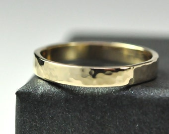 14K Yellow Gold Handmade Ring Hammered Texture 3mm Band Solid Gold Simple Ring Sea Babe Jewelry