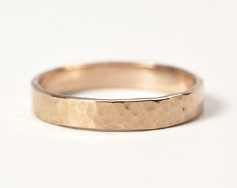 Hammered Rose Gold Ring, 14K Gold, 4mm Wide, Matte Finish, Unisex Wedding Band, Unique, SeaBabeJewelry