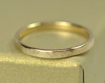 Gold Ring, 18K Yellow Gold 2mm Hammered Gold Ring, Matte Finish, Eco Friendly, Sea Babe Jewelry