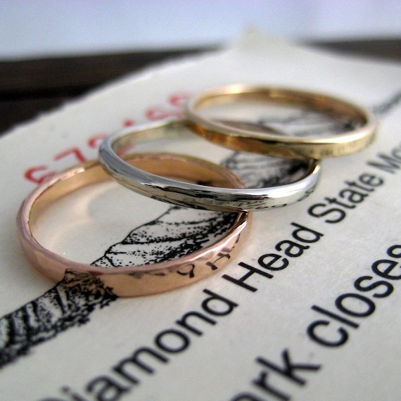 rose and yellow gold stack rings