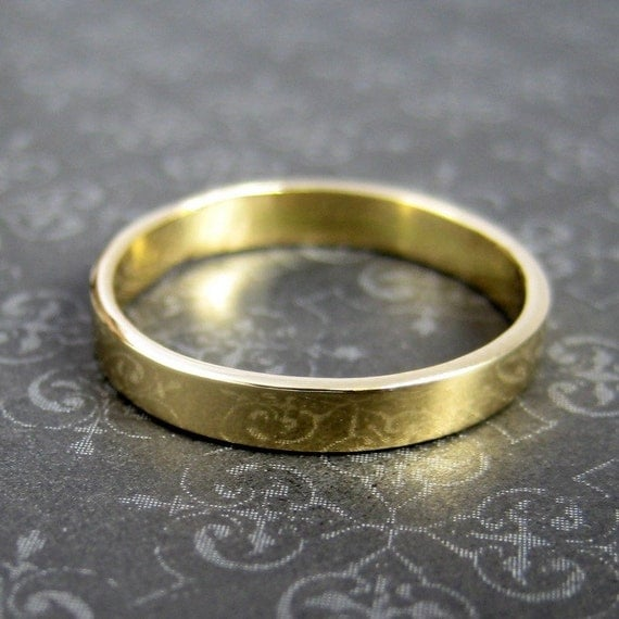 18K Yellow Gold Hand Forged 3mm Band, Smooth Texture, size 6.25 through Size 9, any size available, Sea Babe Jewelry