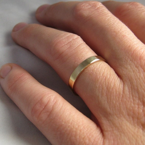 18K Yellow Gold Hand Forged 3mm Band, Smooth Texture, Sea Babe Jewelry