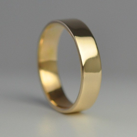 Mens Wedding Ring, 14K Yellow Gold Hand Forged 5mm Band, size 8.25 through 10, any size available, Sea Babe Jewelry