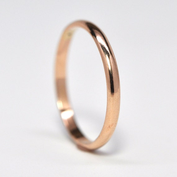 18K Rose Gold Half Round Wedding Band or Fashion Ring, Classic Style, 2mm by 1mm, Sea Babe Jewelry