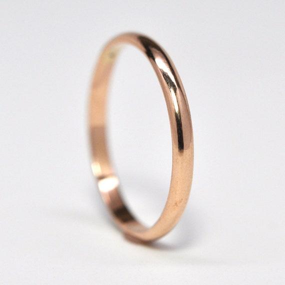 18K Rose Gold Half Round Wedding Band Or Fashion Ring Classic