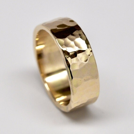 18K Yellow Gold Mens Wedding Band Hammered Ring 8mm Wide Sea Babe Jewelry