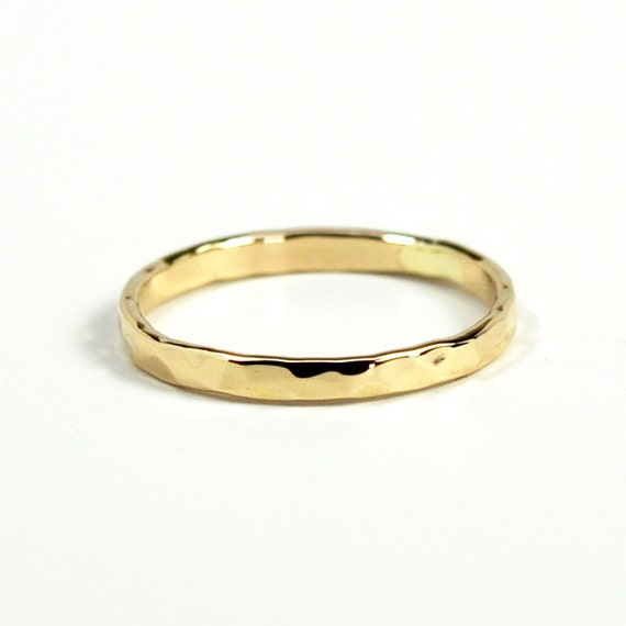 hammered yellow gold ring 2mm wide 14k solid by seababejewelry
